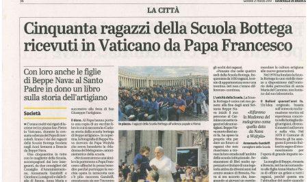 Cinquanta ragazzi della Scuola Bottega ricevuti in Vaticano da Papa Francesco